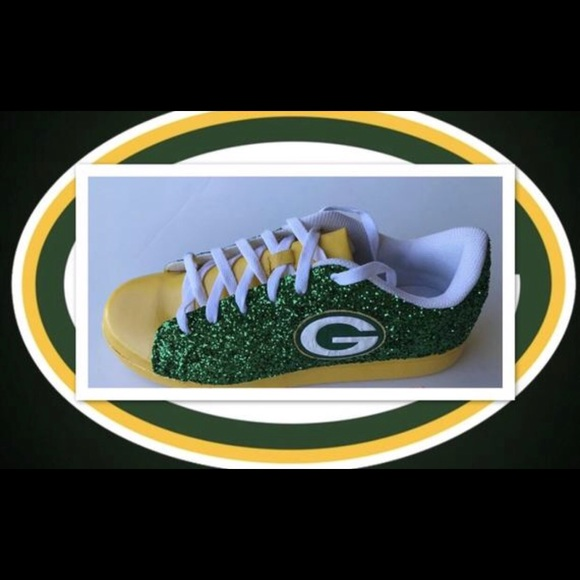 96eb9db7 Women Custom Green Bay Green Glitter Yellow Shoes